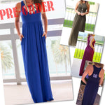 SLEEVELESS MAXI DRESS W/POCKETS