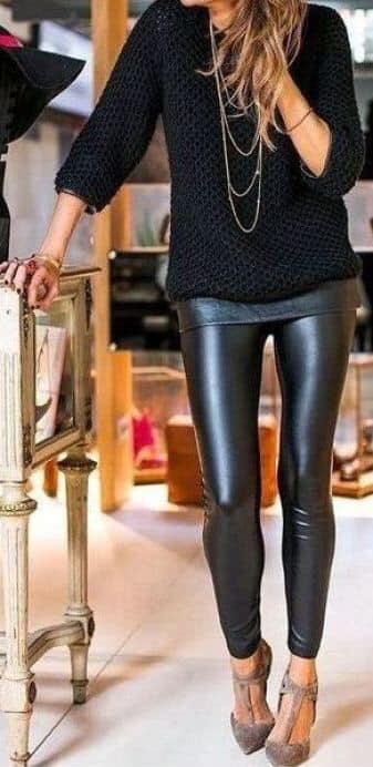 KNOCKOUT FAUX LEATHER HIGH WAISTED BLACK LEGGINGS