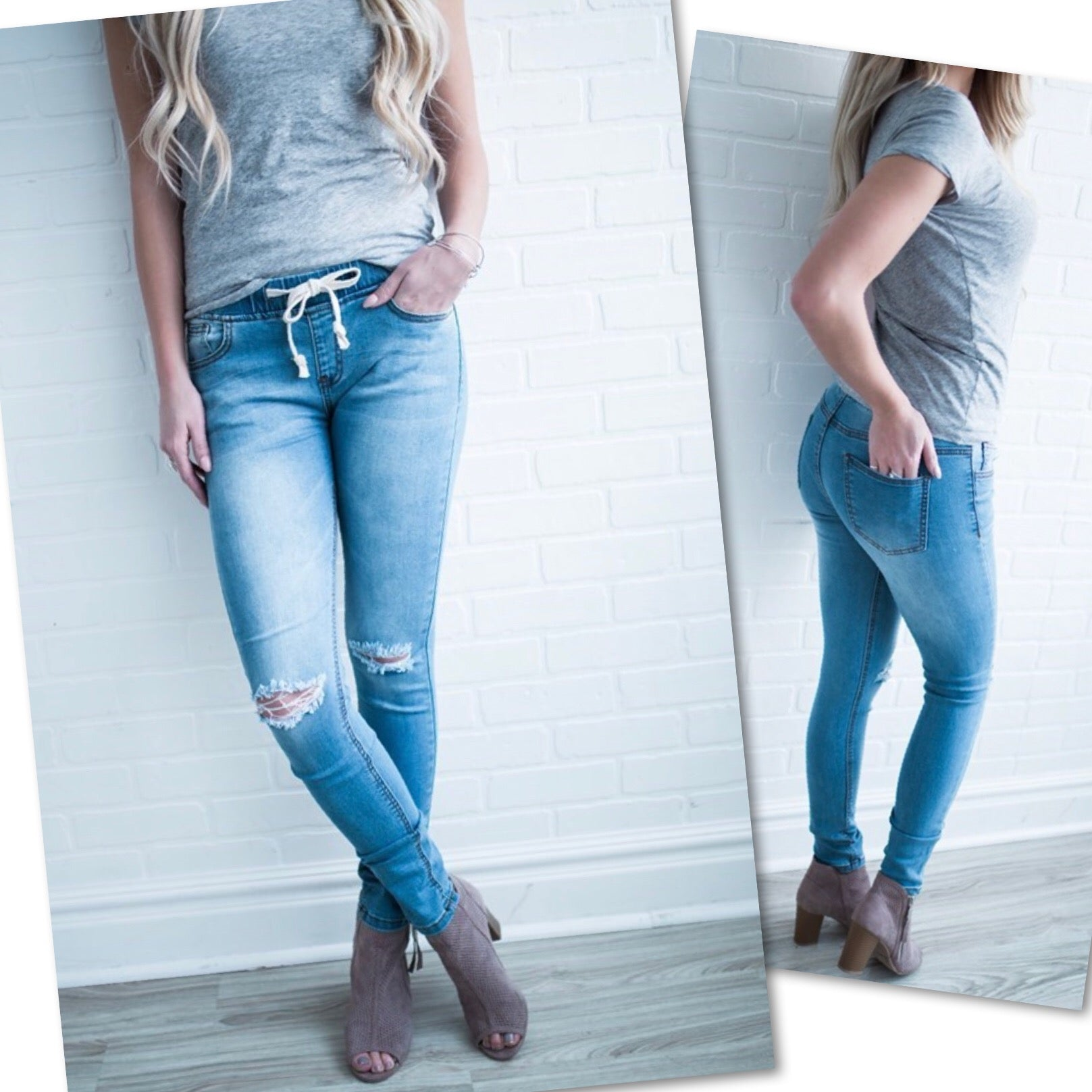 DESTRUCTED DENIM JEANS w/DRAWSTRING