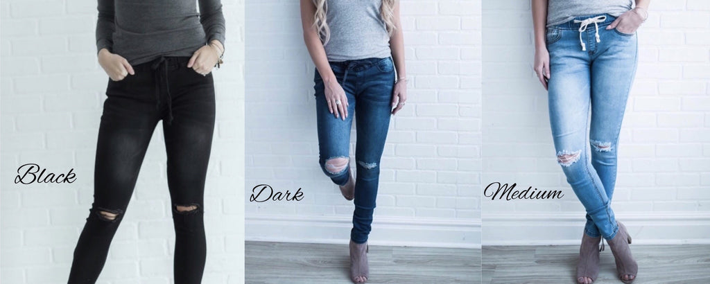 DESTRUCTED DRAWSTRING DENIM JEAN JEGGINGS