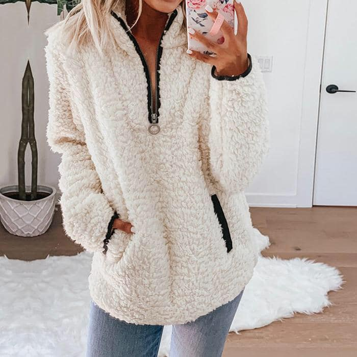 TEDDY BEAR 1/4 ZIP SHERPA