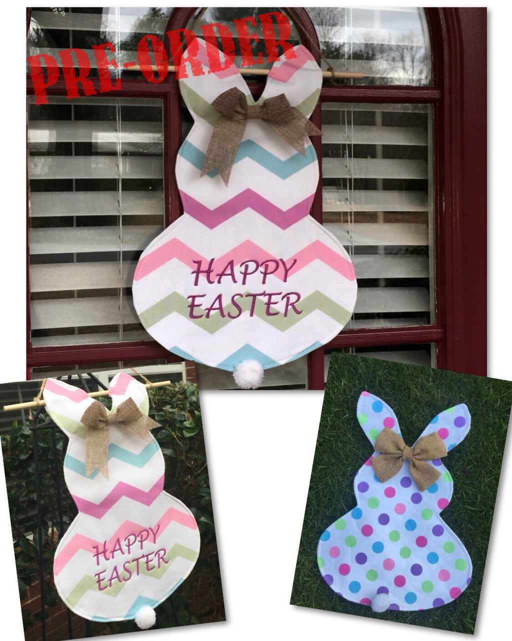 CANVAS EASTER BUNNY GARDEN OR DOOR FLAG