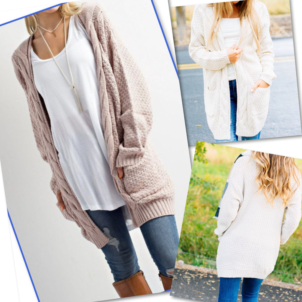 CABLE KNIT CARDIGAN SWEATER
