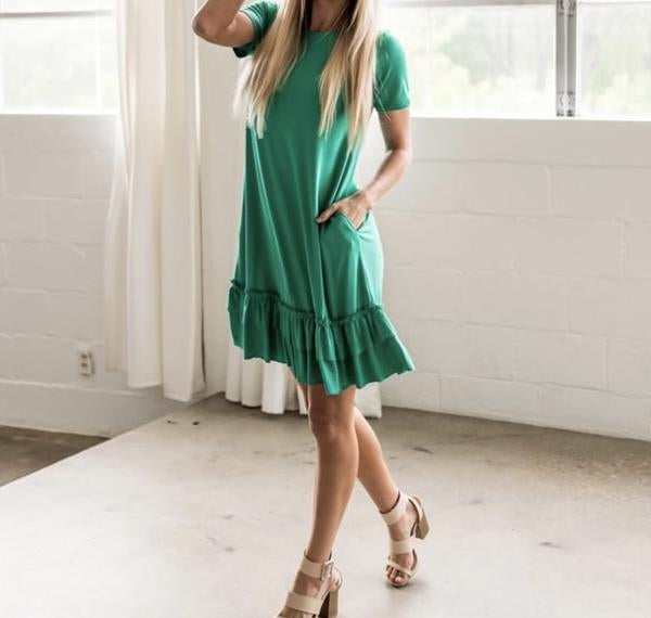 RUFFLE HEM DRESS w/POCKETS - SHORT SLEEVES