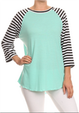 TURQUOISE WITH STRIPED SLEEVE RAGLAN