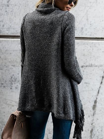ASYMMETRICAL FRINGE CARDIGAN SWEATER WRAP