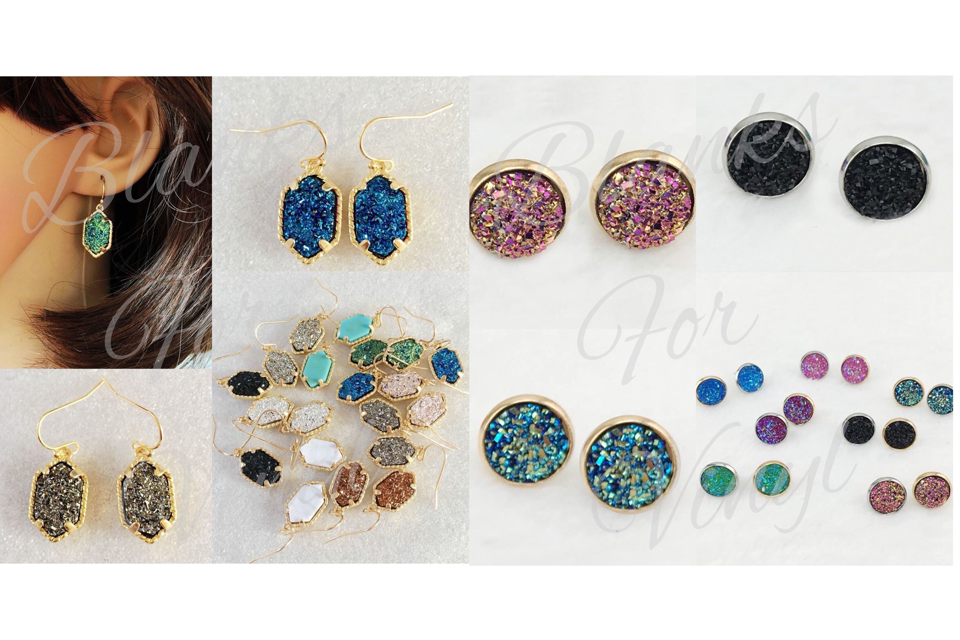 DRUZY INSPIRED EARRINGS - DROP & STUD