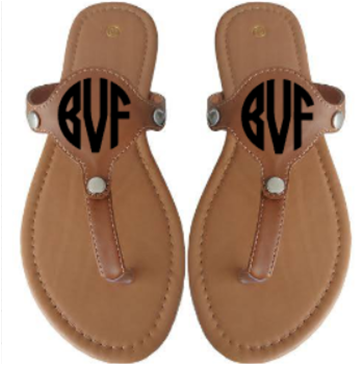 SANDAL WITH OPTIONAL METAL DISC FOR MONOGRAMMING