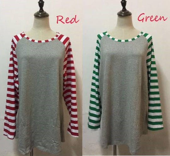CANDY CANE STRIPED LONG SLEEVE RAGLAN