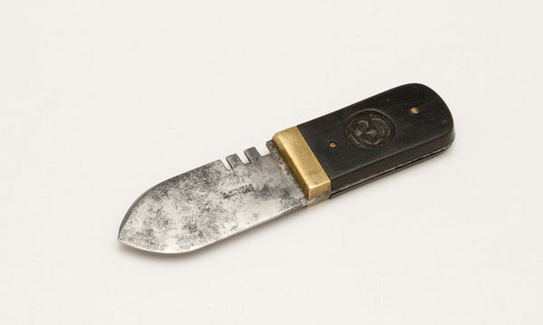 Rare Ebony Handled Leather Knife with Leather Gage and Fancy Carving in the Handle by A. MCQUEEN NEWCASTLE