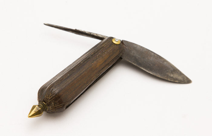 Elaborate 18th Century Rosewood Handled Fisherman's Knife