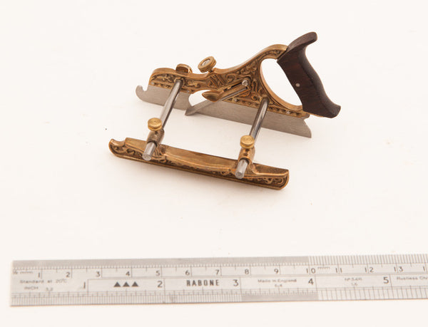 Fancy Miniature MILLERS PATENT NO. 44 Plow Plane in Gun Metal, Steel, and Rosewood