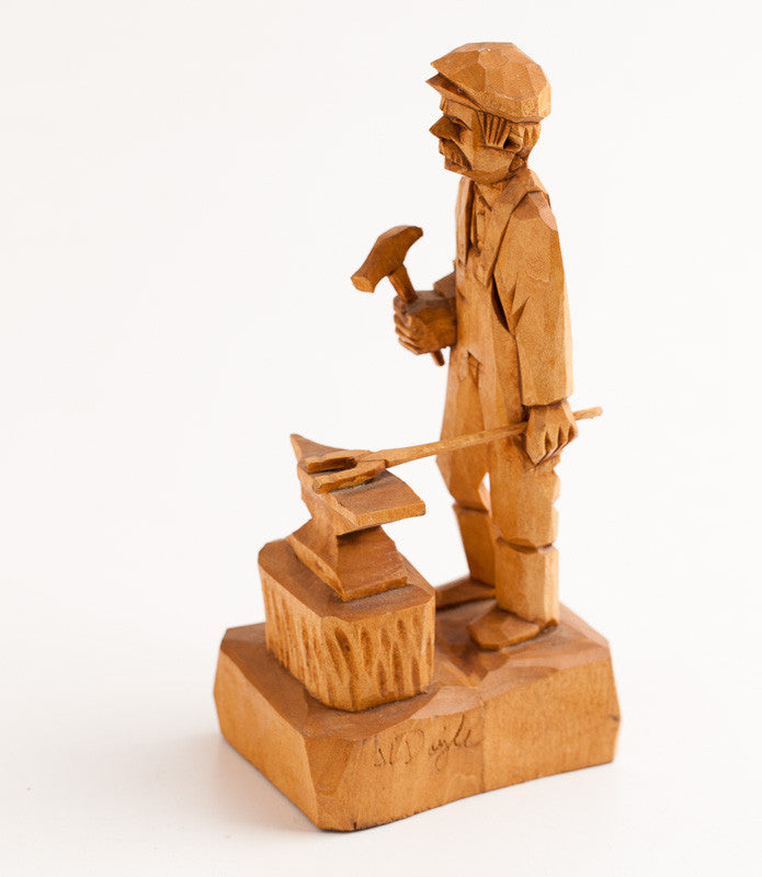 Remarkable Wooden Blacksmith Statue by J.L. DOYLE 6 x 3 x 2 3/8