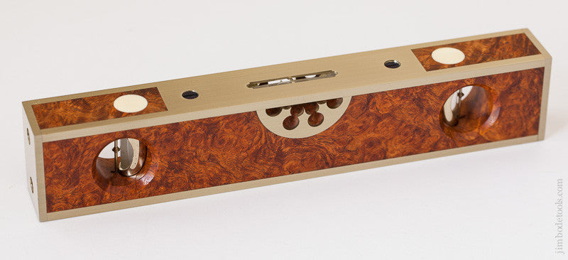 Brilliant Burl and Brass Eight inch STRATTON Level by BARRY WEAVER