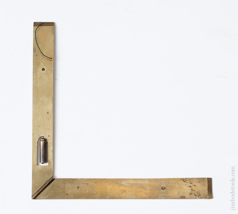 17th Century French Brass 6 1/4 inch Square and Level with Plumb Bob