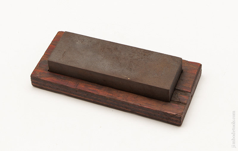 Old Medium Grit 2 x 6 inch Sharpening Stone on Wooden Base