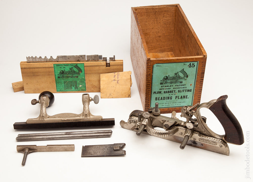 STANLEY NO. 45 Combination Plane in its Original Wooden Box with Green Label Circa 1897-1900