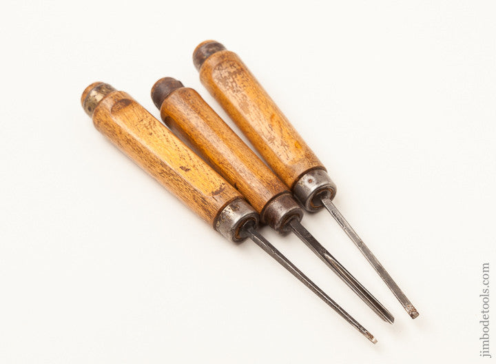 Three Carving Chisels with Screw Logo