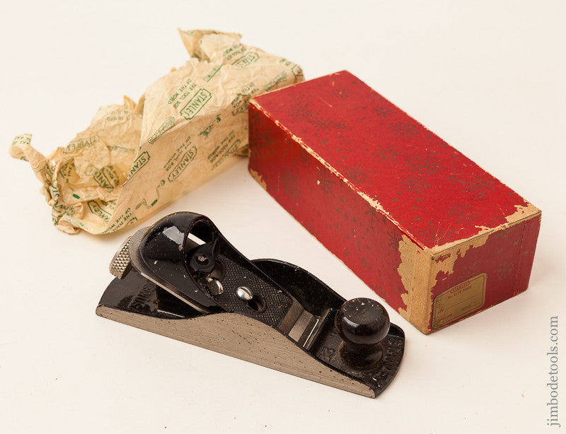 STANLEY No. 220 Block Plane in Original Double Christmas Box with Gift Tag