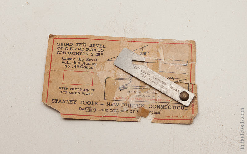 STANLEY 25 Degree No. 145 Bevel Grinding Gauge for Plane Irons on Original Sales Card