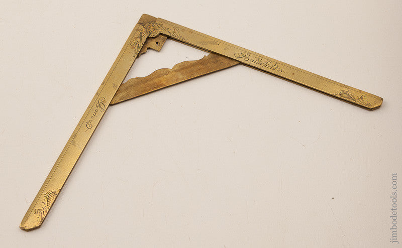 Sensational! 6x6 inch Brass Folding Square and Level by MICHAEL BUTTERFIELD circa 1680-1724