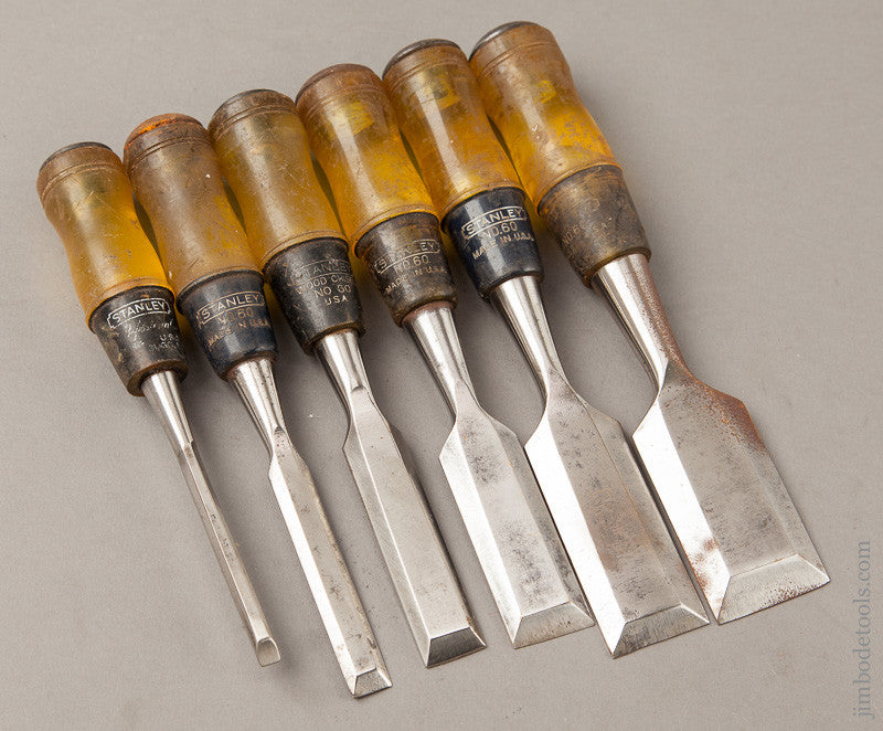 Set of Six STANLEY No. 60 Butt Chisels