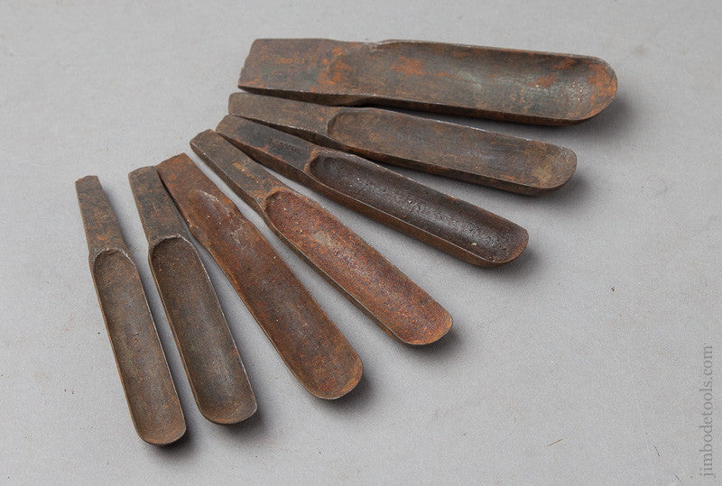 Graduated Set of Seven 18th Century Chair maker's Spoon Bits by GLASCOTT