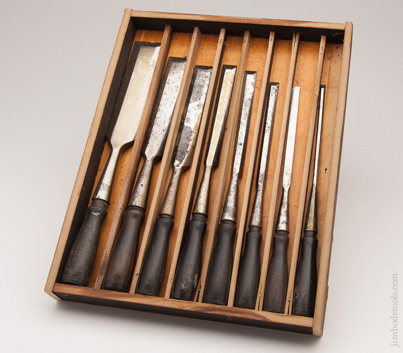 Extra Fine! Set of Eight Bevel Back Chisels by WINCHESTER