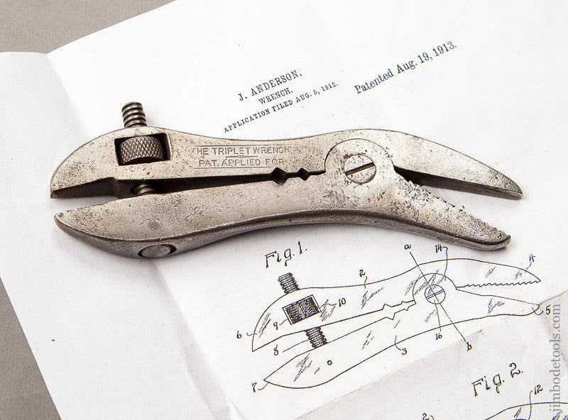 STANLEY 5 1/2 Inch ANDERSON August 19, 1913 Patent THE TRIPLET Wrench