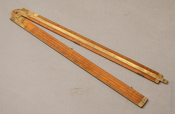 Rare! Type One A. STANLEY & CO. No. 14 Carpenter's Slide Rule with Gunter's Scales -- Fine and Flawless!
