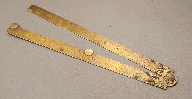 Fancy MATHIESON Two Foot Brass Folding Rule with Engraved Escutcheouns Including Dividers Motif