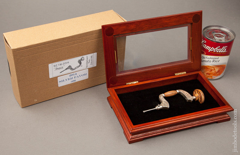 2014 PNTC Best in the West No. 06 Favor 6 1/8 inch Silver and Olive Wood Brace in Original Wooden Presentation Box