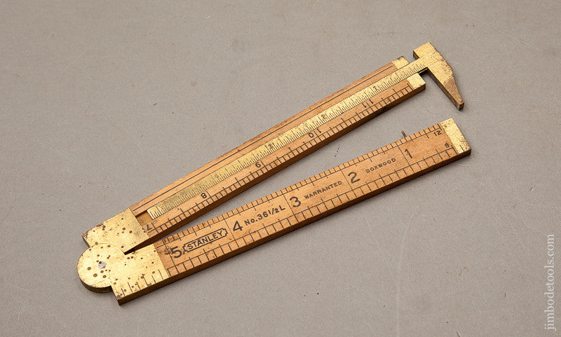 STANLEY No. 36 1/2 L One Foot Two Fold Boxwood and Brass Left Hand Caliper Rule