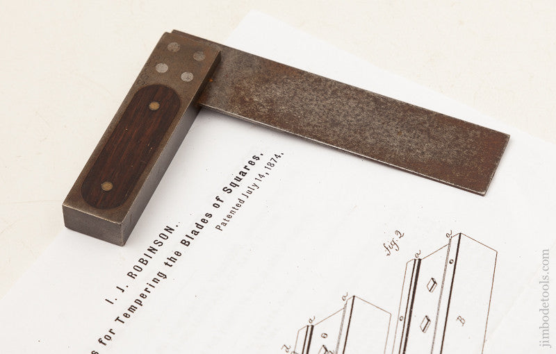 Rare! Four inch Size ROBINSON July 14, 1874 PATENT Try Square by ST. JOHNSBURY TOOL CO.