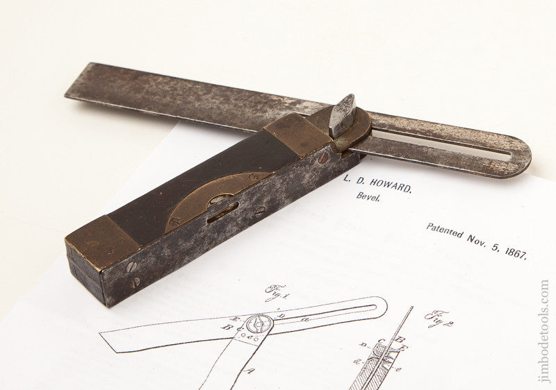 Early HOWARD's November 5, 1867 Patent 7 1/2 inch Bevel with Level by STAR TOOL CO. with 90 degree Position Lock