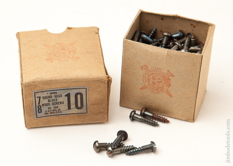 One Gross of Antique 7/8 No. 10 Round Head Blued Steel Wood Screws in Original Box