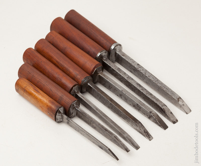 Great Working Set of Seven Pig Sticker Mortise Chisels by W. BUTCHER circa 1799-1900