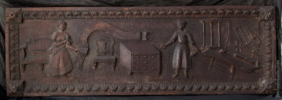 AMAZING! 18th Century Carved Oak Panel of Carpenter Workbench & Tools 21 1/4 x 64 1/4