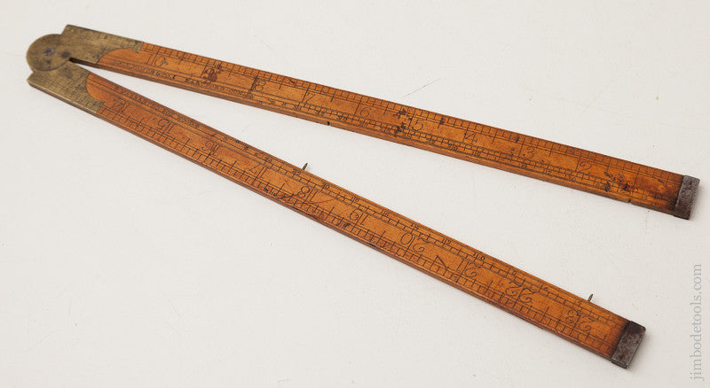 Rare and Early! S.A. JONES & CO. HARTFORD Boxwood Two Foot Four Fold Rule with Iron Tips GOOD+