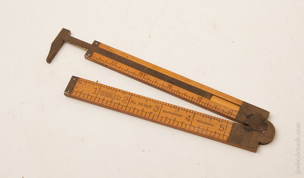 Fine STANLEY No. 36 1/2 R Boxwood and Brass One Foot Two Fold Carpenter's Caliper Rule