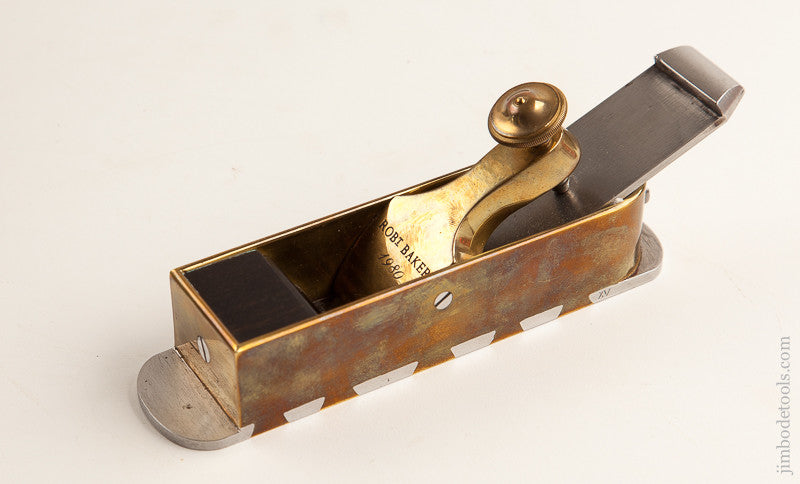 BEAUTIFUL Brass and Steel 1 3/4 x 7 1/8 inch Mitre Plane by ROBT BAKER 1980