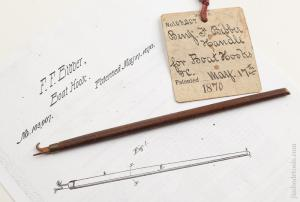 BIBBER May 17, 1870 Patent 7 3/4 inch Boat Hook Patent Model with Patent Office Tag      75493R
