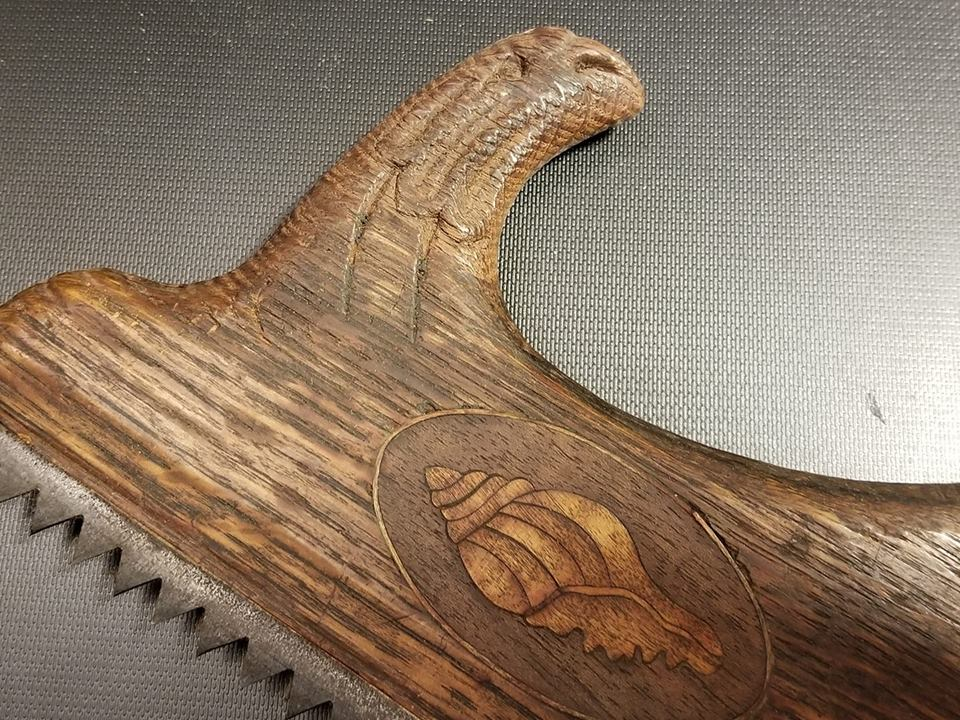 Lovely Carved and Inlaid Stair Saw - 64827R