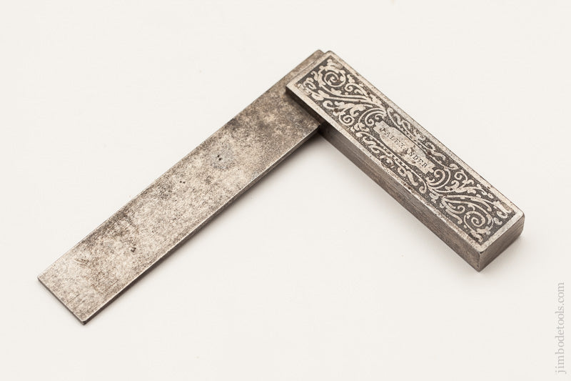 Gorgeous! Ornately Etched Steel Try Square - 58818U