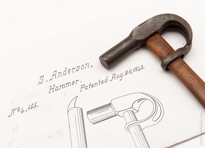 SOLOMON ANDERSON 5 ounce Wraparound Claw Hammer Patented August 20, 1845 - 59676U