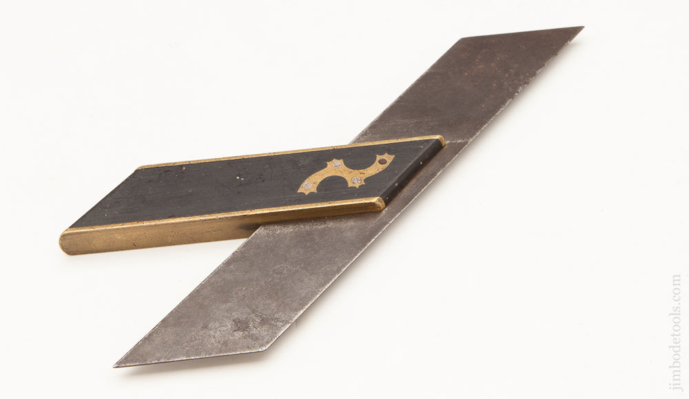Stunning 12 inch Ebony and Brass Miter Square - 62291R
