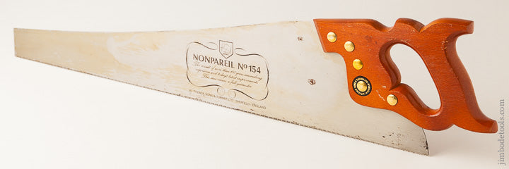 Minty 9 point 26 inch Crosscut W. TYZACK SONS & TURNER  NONPAREIL No. 154 Hand Saw - 63732