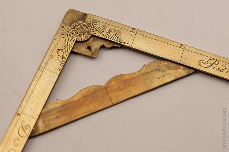 Sensational! 6x6 inch Brass Folding Square and Level by MICHAEL BUTTERFIELD circa 1680-1724 PARIS - 66516U