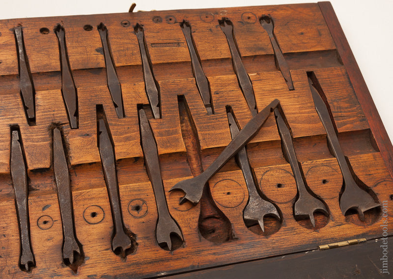 Gorgeous 15 piece Antique Center Bit Set in Fitted Box - 67067