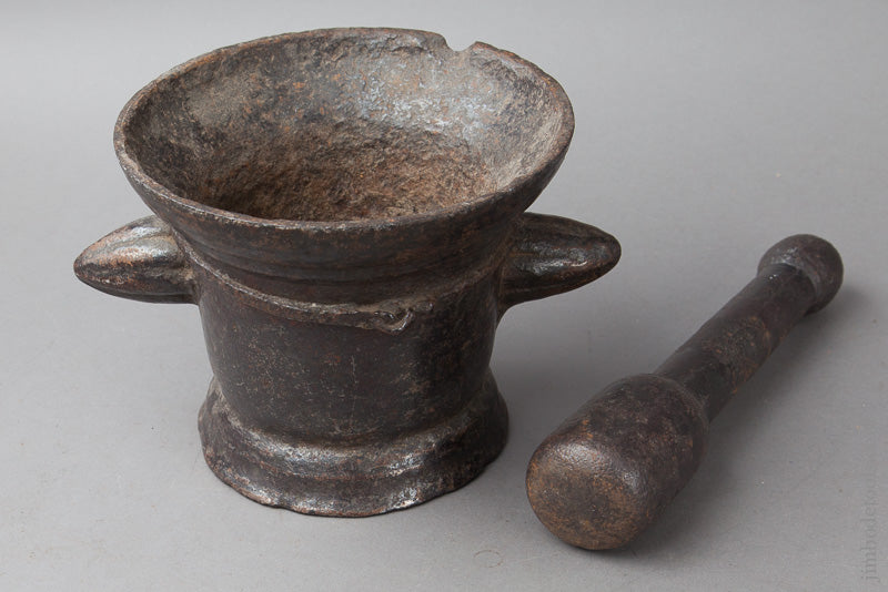 Stunning 17th Century Cast Iron Mortar & Pestle - 67772R